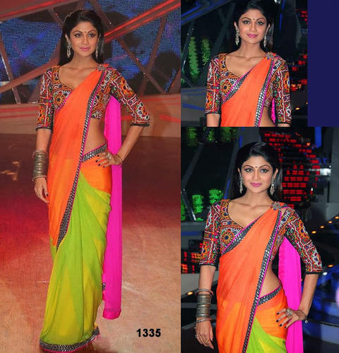 Green Pink And Orange Combination Saree