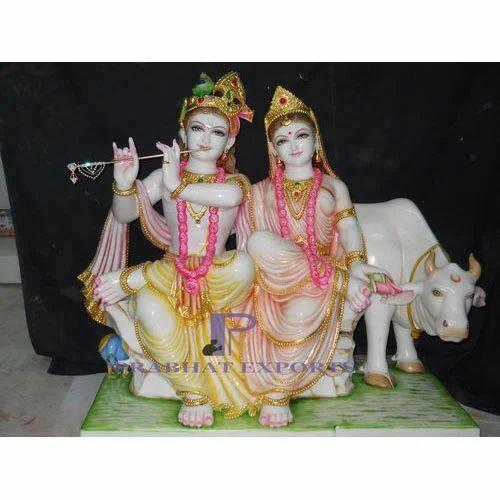 Hindu Prabhat Marble Jugal Radha Krishna Statue, For Temple & Home