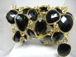 Gold Plated Black Onyx Bezel Set Connector Station Chain