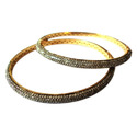 Real Diamonds Party Wear Ethnic Diamond Studded Pave Bangle, 2 Pieces