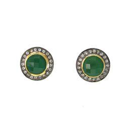 Green Onyx Pave Set Earring Stud