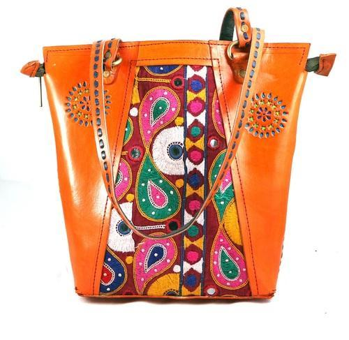 Leather Embroidery Shopping Bag-Orange 22254c14d261d