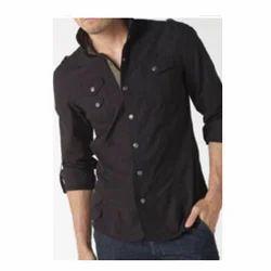 Black Cotton Shirt, ब्लैक कॉटन शर्ट, Men Shirts ...