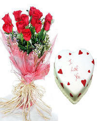 Red Rose Bunch with Half KG Cake