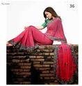Fashion Pink Floral Print Chiffon Saree