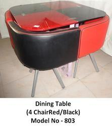 Dining Table 4 Chair Red Black