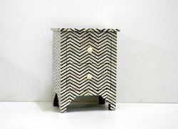 Bone Inlay Bedside Chevron Pattern