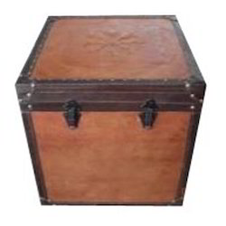 Brown Leather Storage Trunk