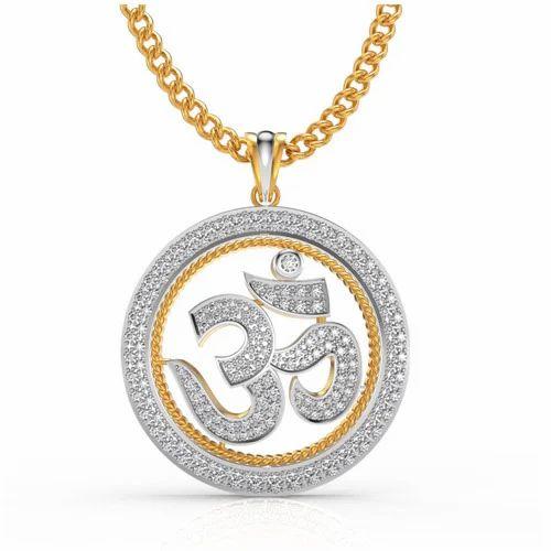 Om diamond pendant at rs 24920 pieces heere ke pendant charu om diamond pendant mozeypictures Image collections