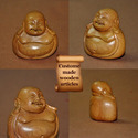Craving Brown Laughing Buddha - Custom Size Wooden Carved Home Decor, For Decoration