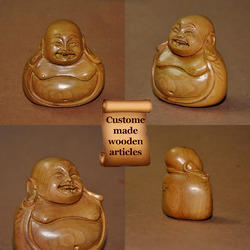 Laughing Buddha - Custom Size Wooden Carved Home Decor