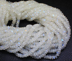 Rainbow Moonstone Gemstone Rondelle Beads