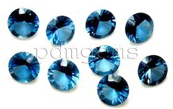 London Blue Topaz Round Diamond Cut Gemstone