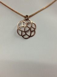 Rose Gold Silver Flower Pendants
