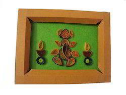 Paper Brown Green Ganesha Photo Frame, For Decoration, Size: 410x410mm