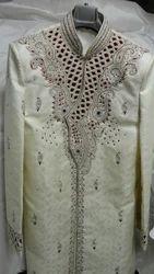 White Emboried Wedding Sherwani For Groom