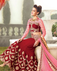 Maroon And Pink Color Lehenga