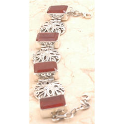 Red Onyx 925 Sterling Silver Bracelet
