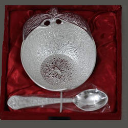 Silver Plated Apple Shape Bowl with Spoon