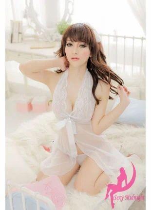 ae0ab69fc519 Nightwear, Intimate Dresses - White net sleepwear with free G-string ...