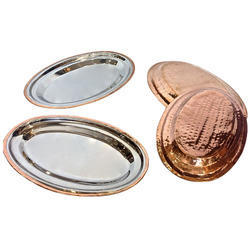 Copper Steel Oval Snacks-Salad Platters