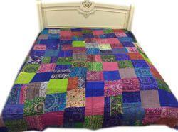 Embroided Designer Silk Bed Sheet
