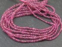 Pink Tourmaline Gemstone Rondelle Beads Strands