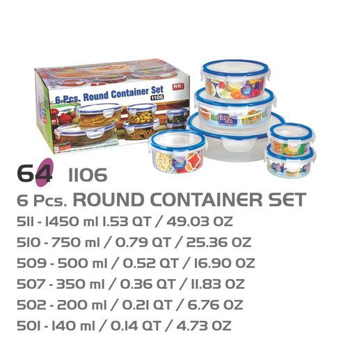 Super Lock Seal 6 Pcs Round Plastic Food Storage Container