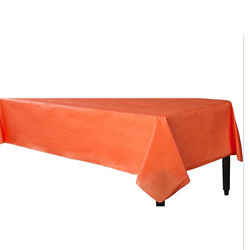 Orange Vinyl Table Cover Flannel Backed 52x90