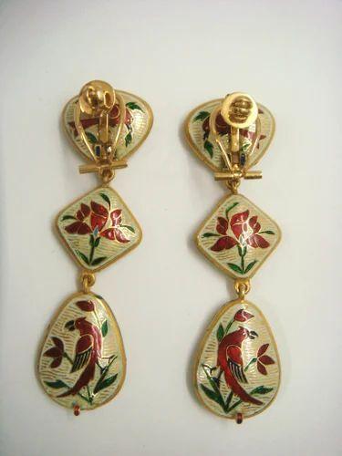 Gold Enamel Earrings Back