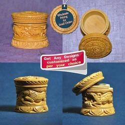 Handmade Carved Round Wooden Jewellery Boxes