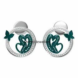 Fancy Heart Shape Silver Earring