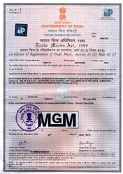 Certificate for Registration of Trademark