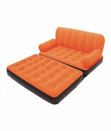Velvet Inflatable Air Sofa Cum Bed With Air Pump Orange