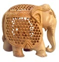 Wood Wooden Jali Elephant Statue, For Home Decor