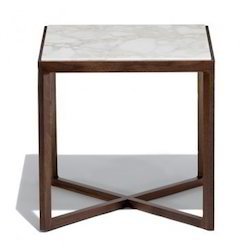 White Marble and Wooden Stand Table