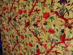 Bird Print Kantha Bedspread
