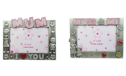 Rectangular Metal Photo Frame With Love Mum Message 5x35 Gift