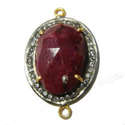 Dyed Ruby Pave Setting Connector