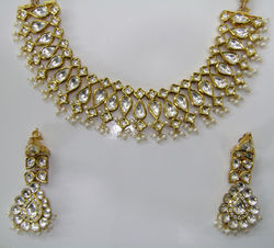 22k Gold Pearl Kundan Designer Elegant Necklace Set