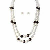 20428bfecde Ravishing Double String Real Pearls Necklace Set - Trendy Souk ...