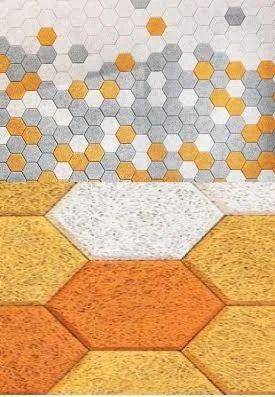 Hexagonal Wood Wool Acoustic Tiles व ड