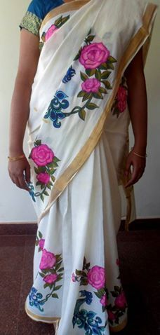 Fabric Painting Fabric Painting On Kerala Saree Grace