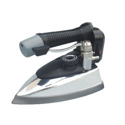 Professional steam iron with hanging plastic bottle