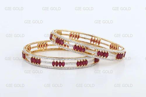 4b38cdabd58 Designer Ruby Diamond Bangles | Jewels Of Jaipur | Exporter in ...