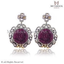 Ruby Gemstone Carved Earring Jewelry