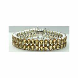 925 Citrine Gemstone Sterling Silver Bracelet