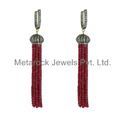 Ruby Gemstone Diamond Tassels Earrings Jewelry