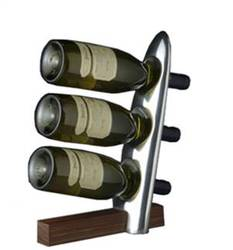 Polished Aluminum & Polished Wood Wine Bottle Holder