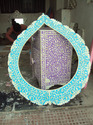 Vinayak Art School Turquoise Bone Inlay Floral Design Mirror Frame